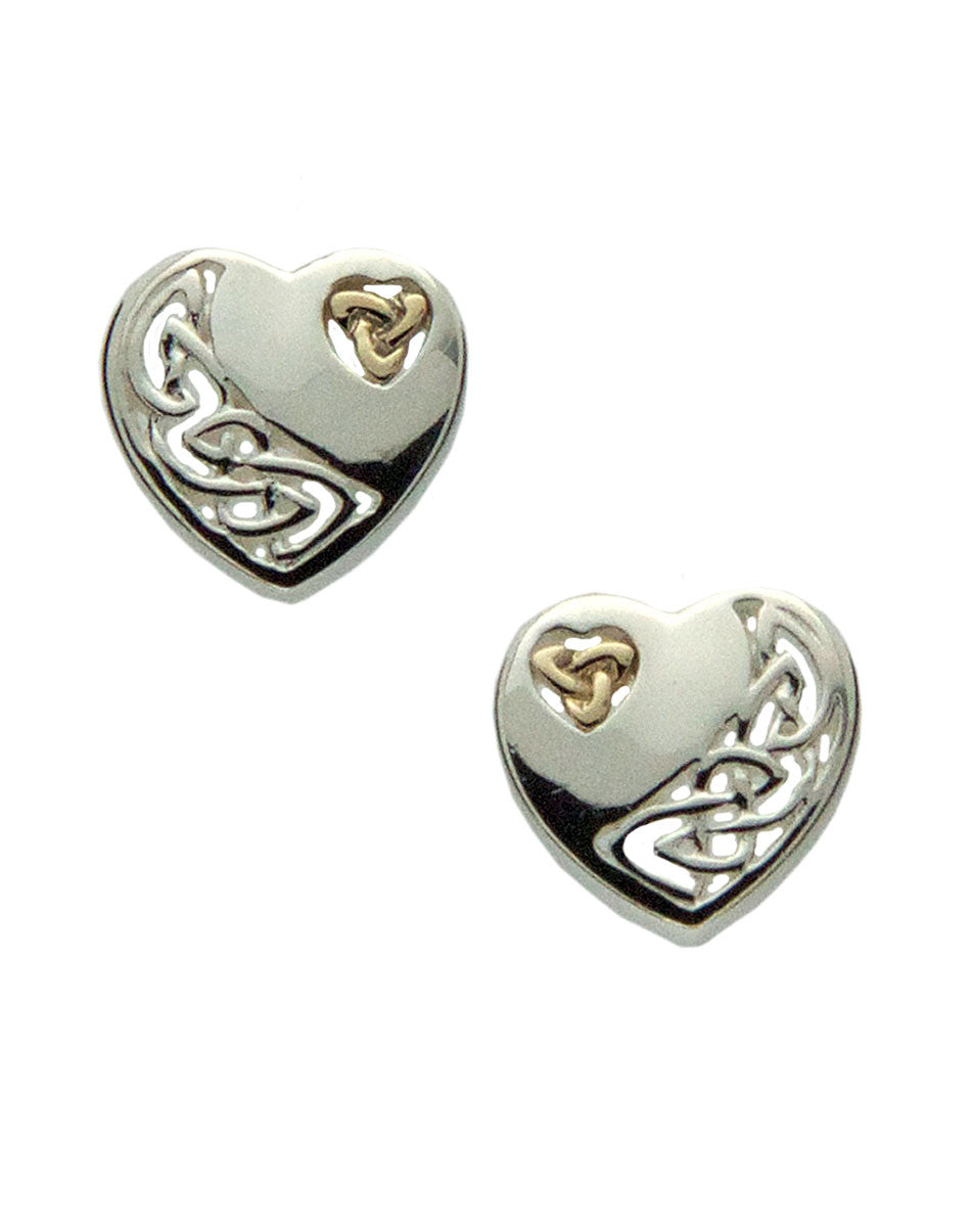 Celtic Heart Earrings - Sterling Silver and 10k Gold