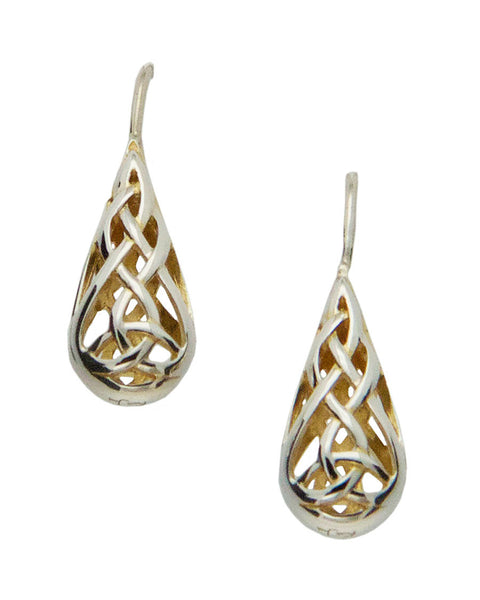 Trinity Knot Earrings - Sterling Silver and 22k Gilding