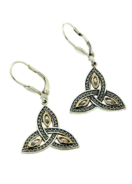 Trinity Marquis Earrings - Sterling Silver, 10k Gold & Cubic Zirconia