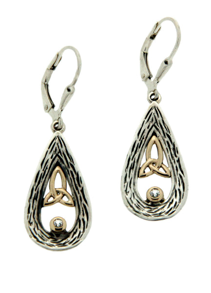 Trinity Drop Earrings - Sterling Silver, 10k Gold & Sapphire