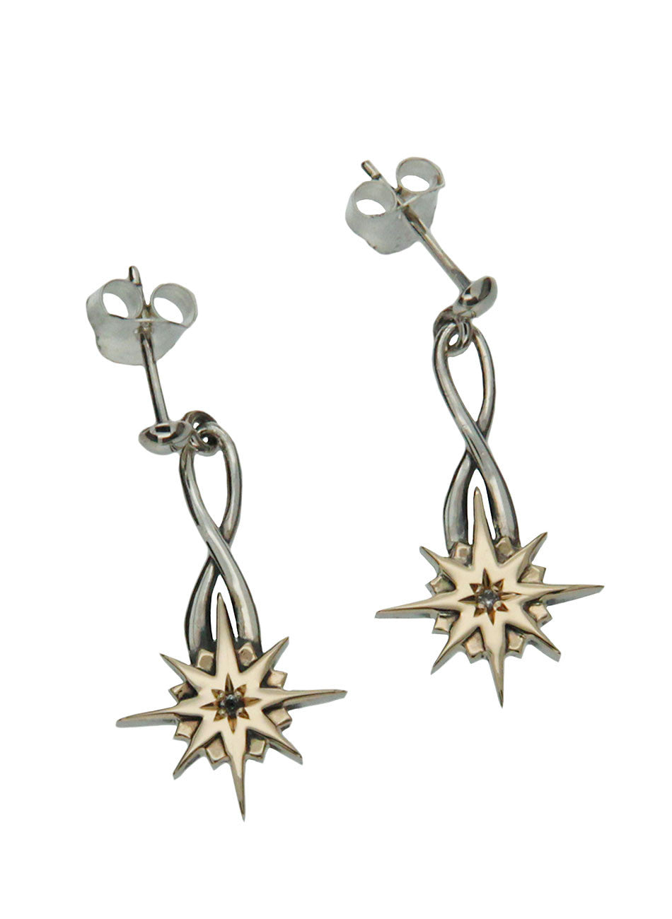 Norse Forge Compass Earrings - White Sapphire