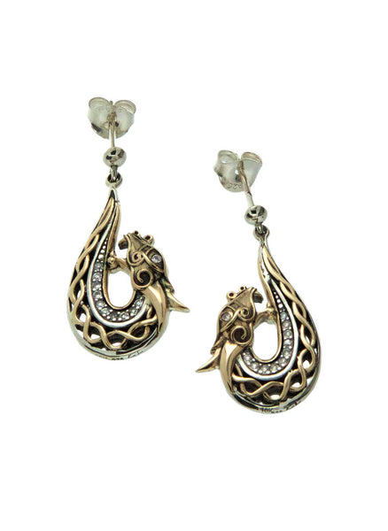 Norse Forge Dragon Earrings - White Sapphire