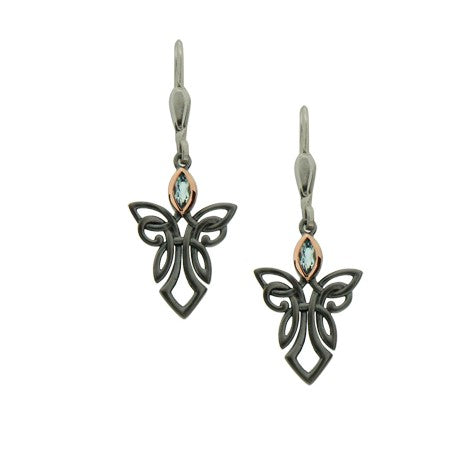 Guardian Angel Earrings - Ruthenium and Rose Gold