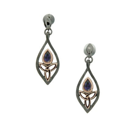 Guardian Angel Earrings - Ruthenium Iolite