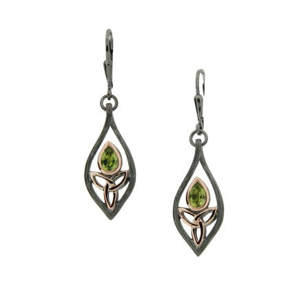 Guardian Angel Earrings - Ruthenium Peridot
