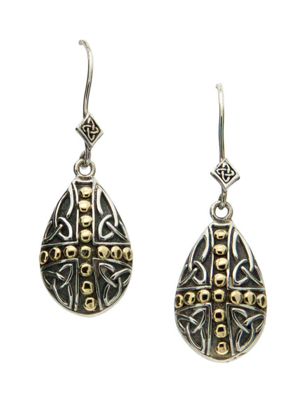 Celtic Cross - Labyrinth Teardrop Earrings