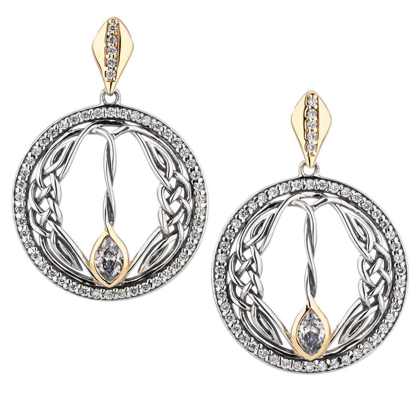 Woven Round Marquis Gateway Earrings
