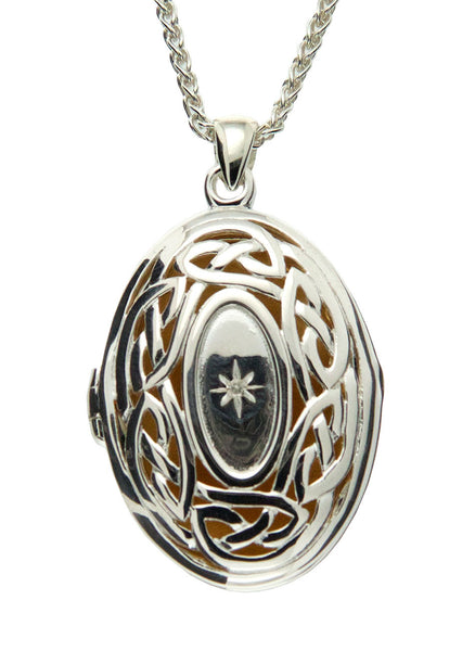 Large Locket - Sterling Silver Eternity Knot with Diamond