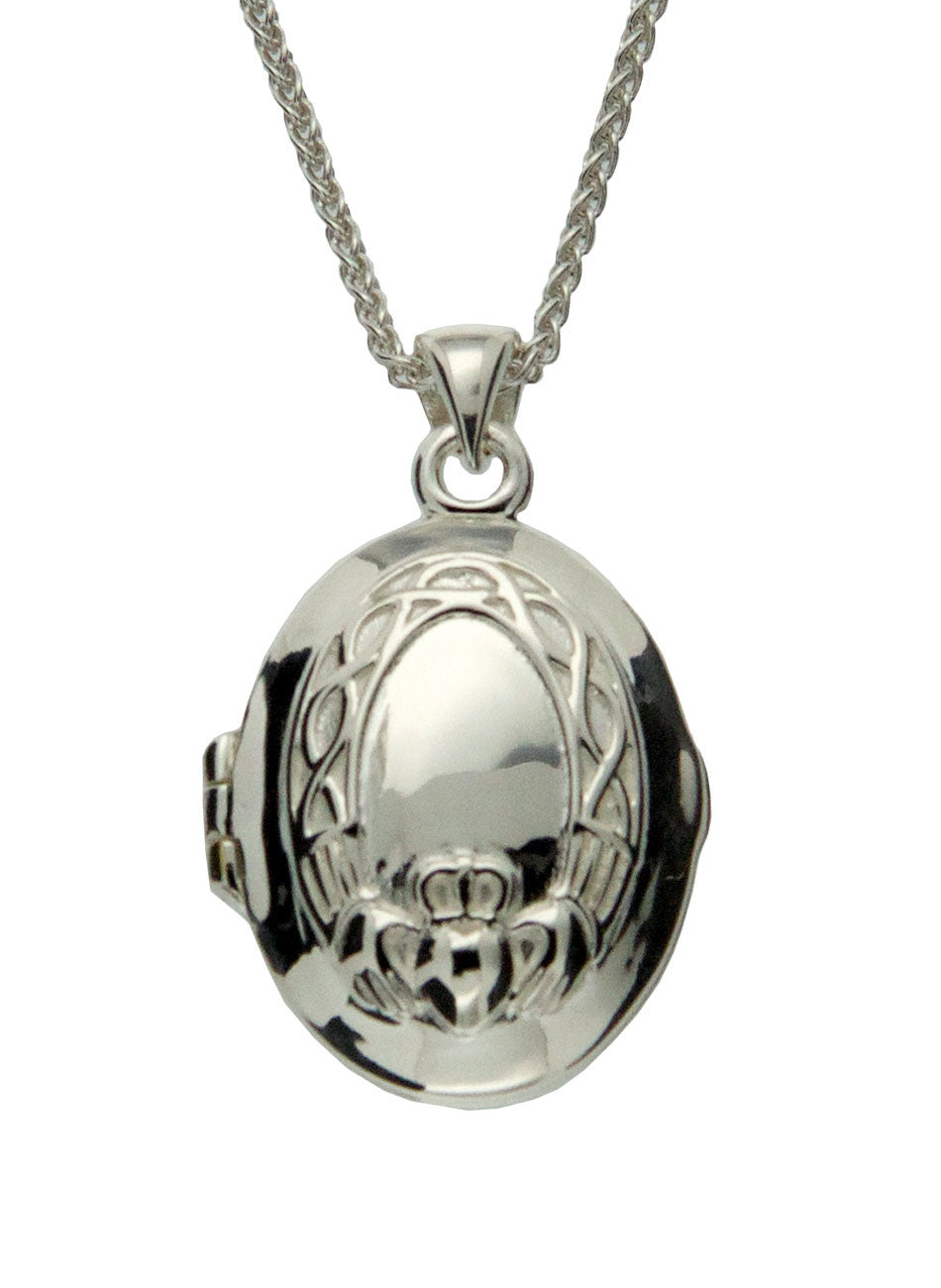 Claddagh Locket - Sterling Silver and 24k Gilded