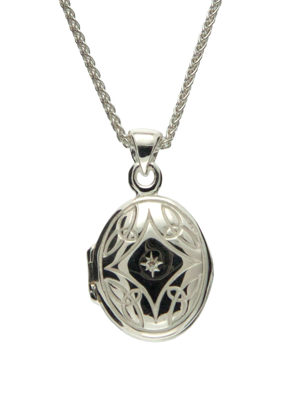 Small Locket - Sterling Silver with 4 Trinitys and Diamond