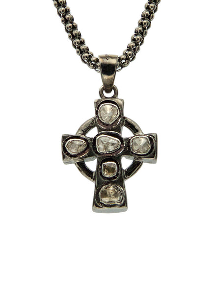 Celtic Cross - Sterling Silver and Black Rhodium with Raw Diamonds