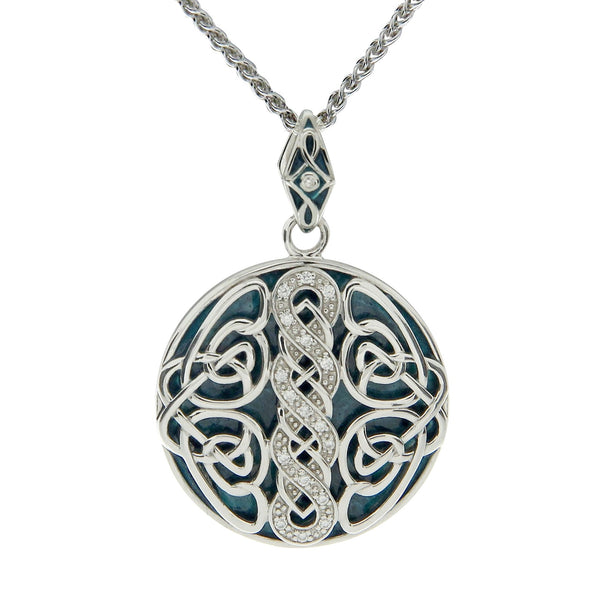 Norse Knot Path of Life Enamel Pendant - Sterling Silver