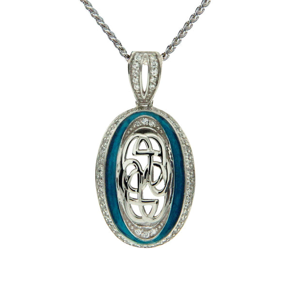 Path of Life Enamel Oval Pendant - Sterling Silver