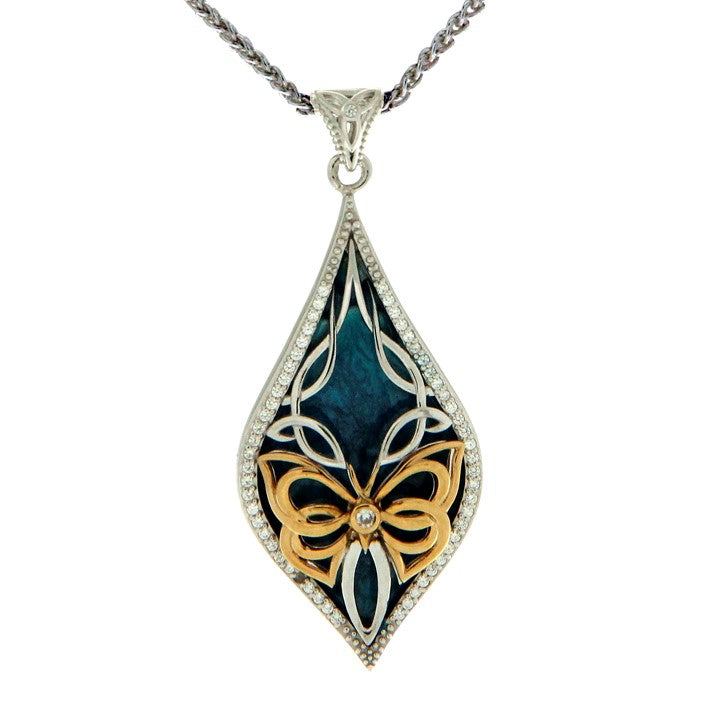 Enamel Butterfly Pendant - Yellow Gold