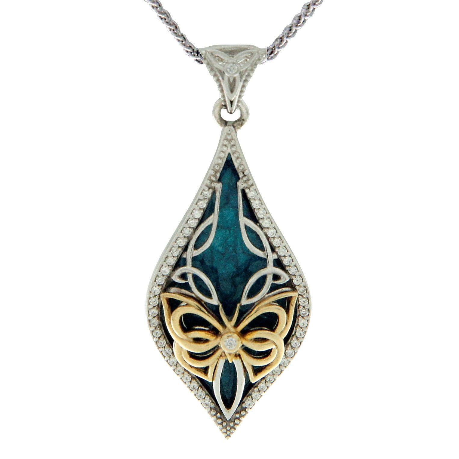 Enamel Butterfly Pendant Small - Yellow Gold