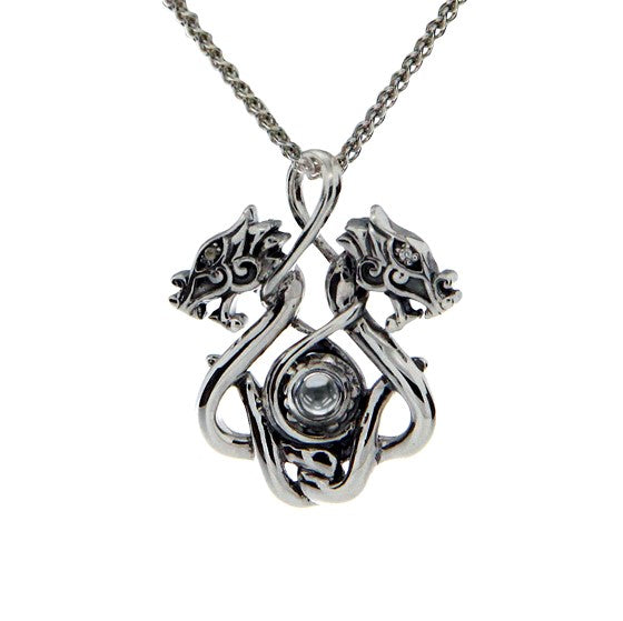 Double Dragon Pendant Small - Sterling Silver