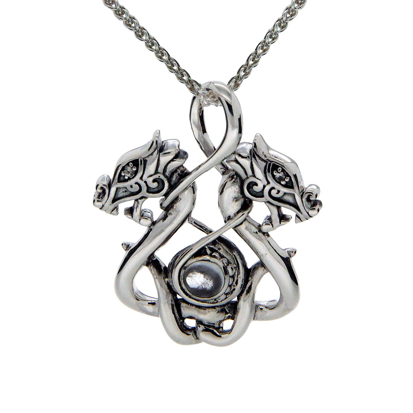 Double Dragon Pendant - Sterling Silver
