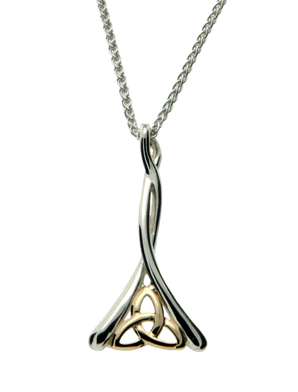 Trinity Knot Pendant - Sterling Silver and 10k Gold