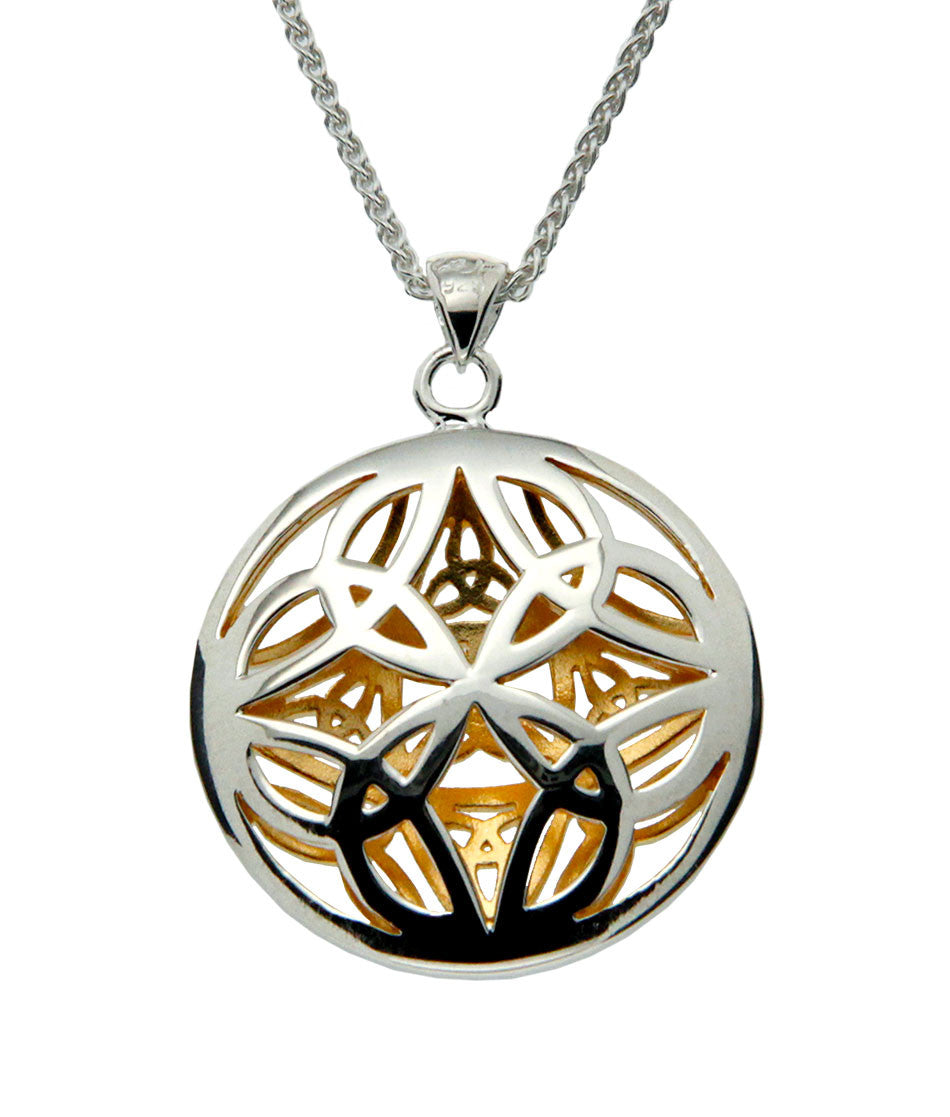 Reversible Trinity Knot Pendant - Sterling Silver and 22k Gilding
