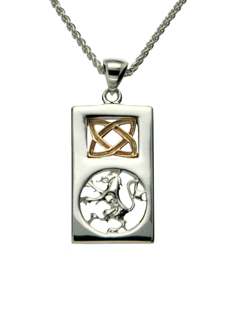 Scottish Rampant Pendant - Sterling Silver and 10k Gold - Small