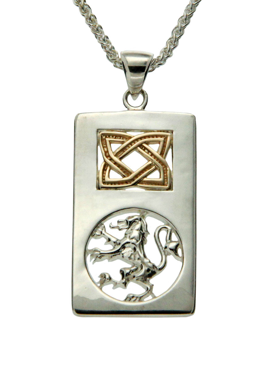 Scottish Rampant Pendant - Sterling Silver and 10k Gold