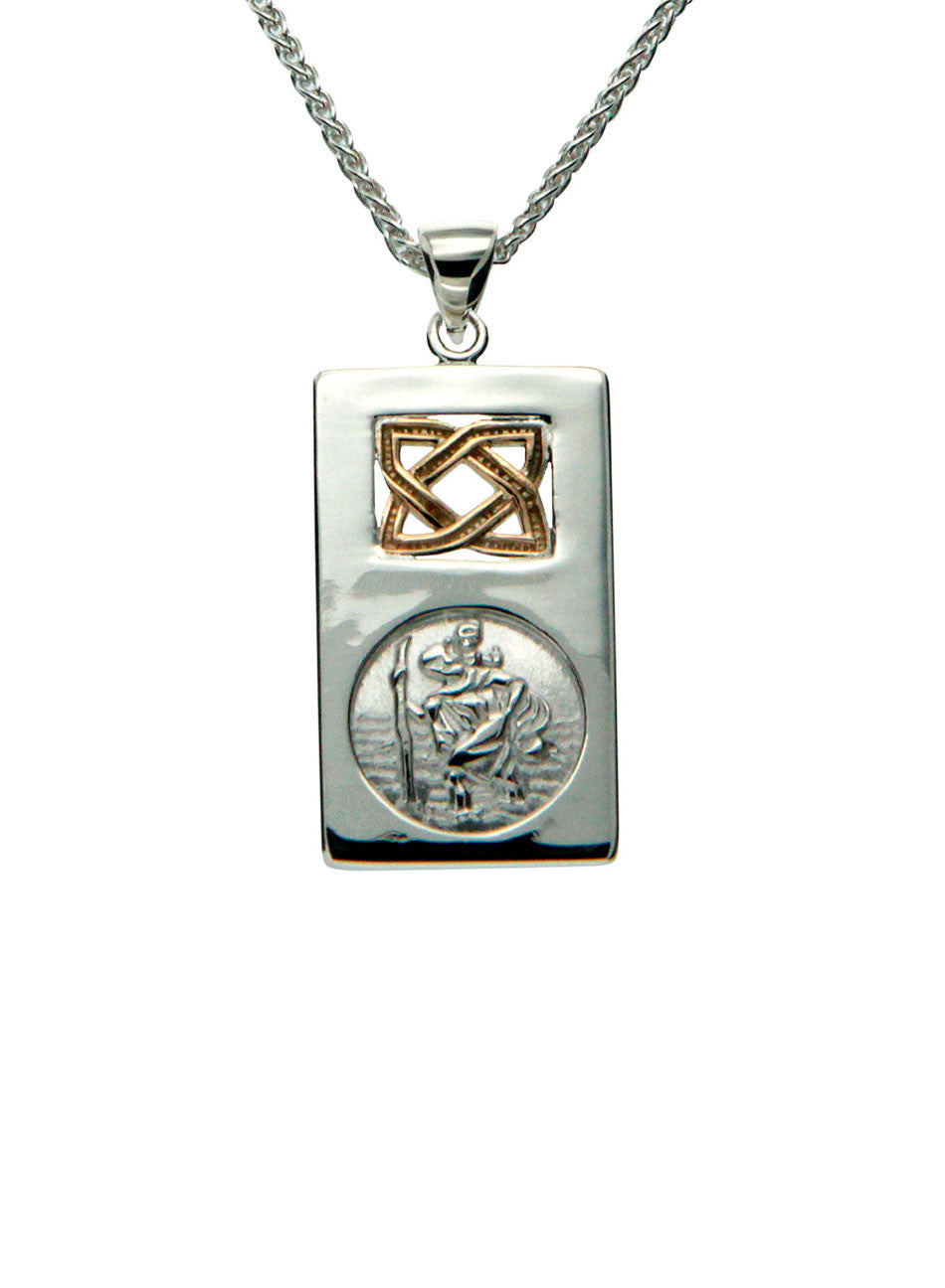 Saint Christopher Pendant - Sterling Silver & 10k Gold - Small