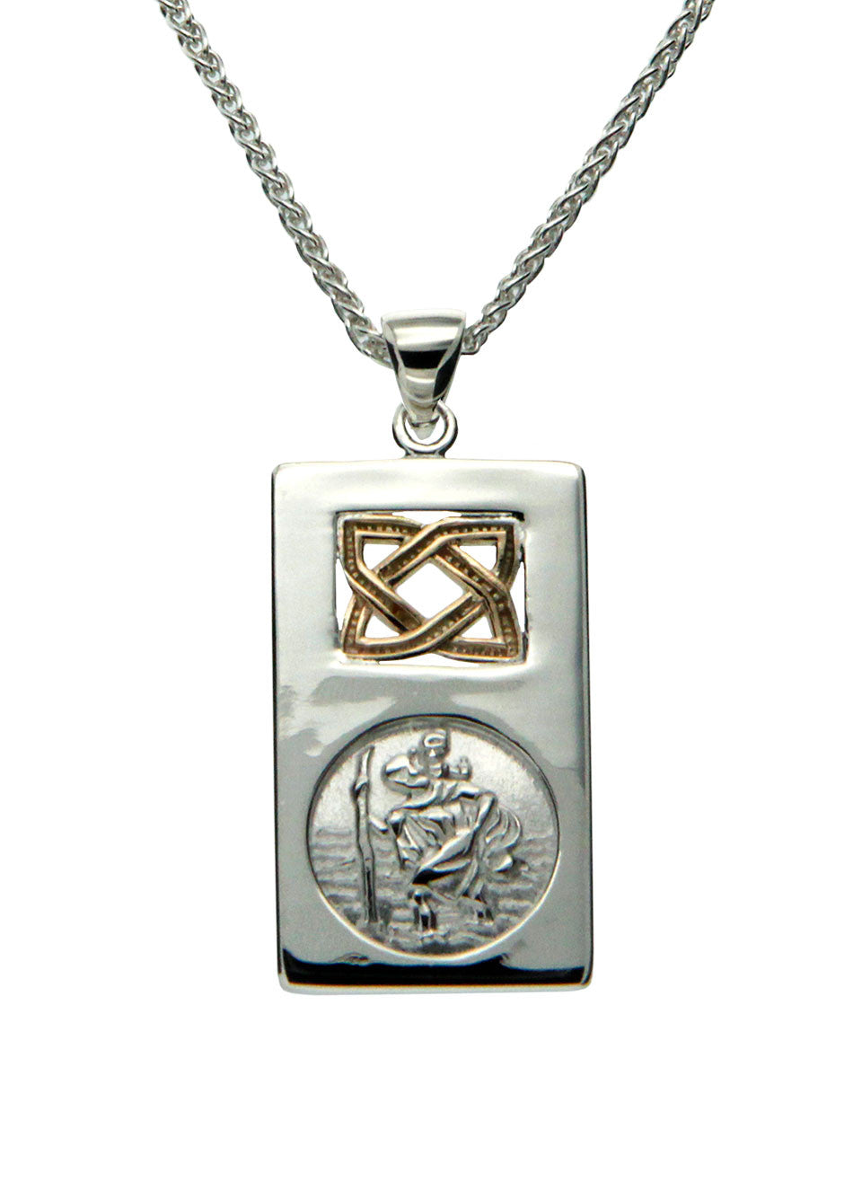 Saint Christopher Pendant - Sterling Silver & 10k Gold - Large