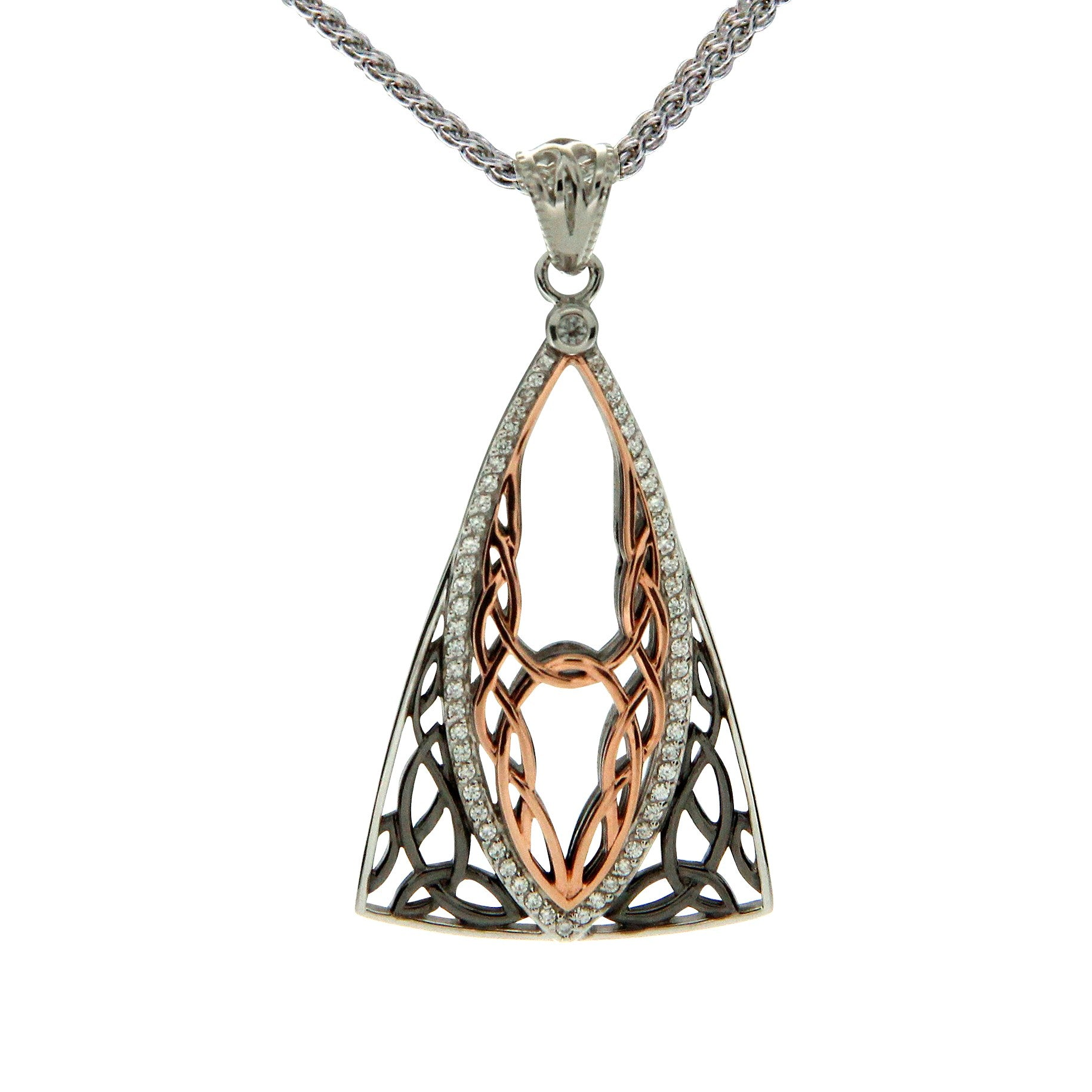 Tower Gateway Pendant - Ruthenium and Rose Gold