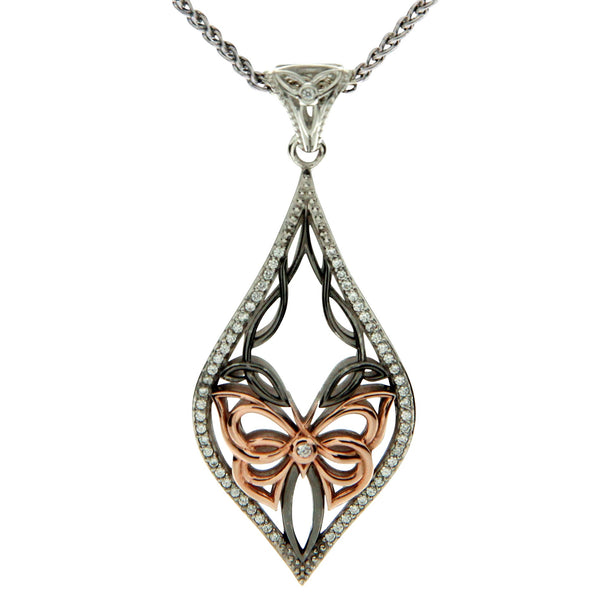 Cocooned Butterfly Pendant - Ruthenium and Rose Gold