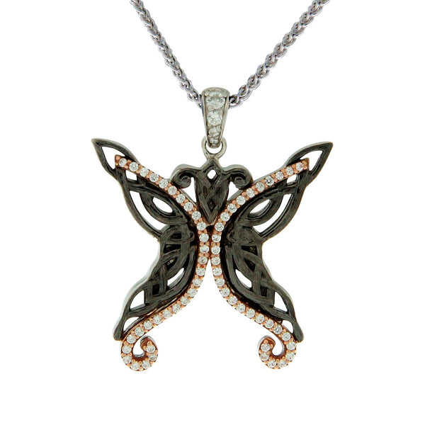 Barked Butterfly Pendant - Ruthenium