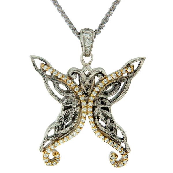 Barked Butterfly Pendant