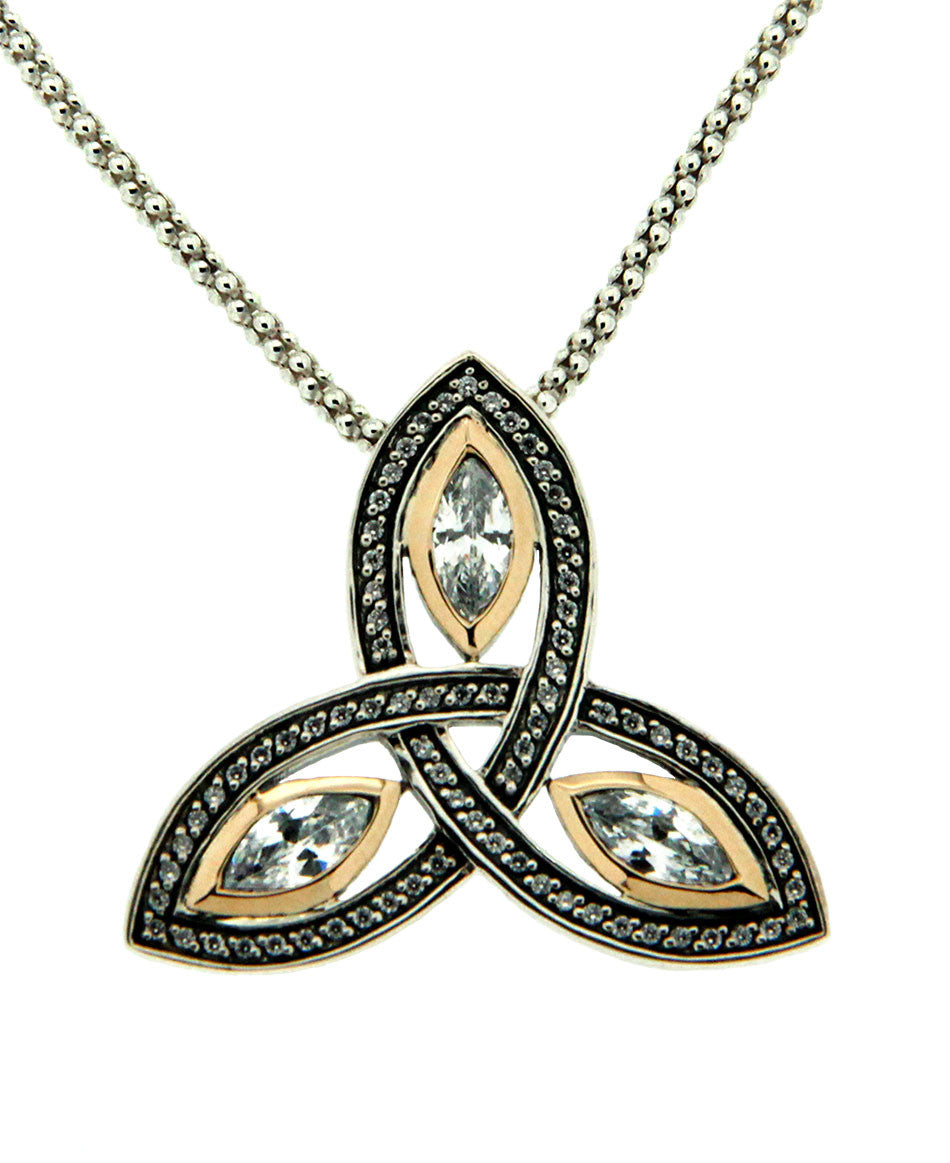 Trinity Marquis Pendant - Sterling Silver, 10k Gold & Cubic Zirconia