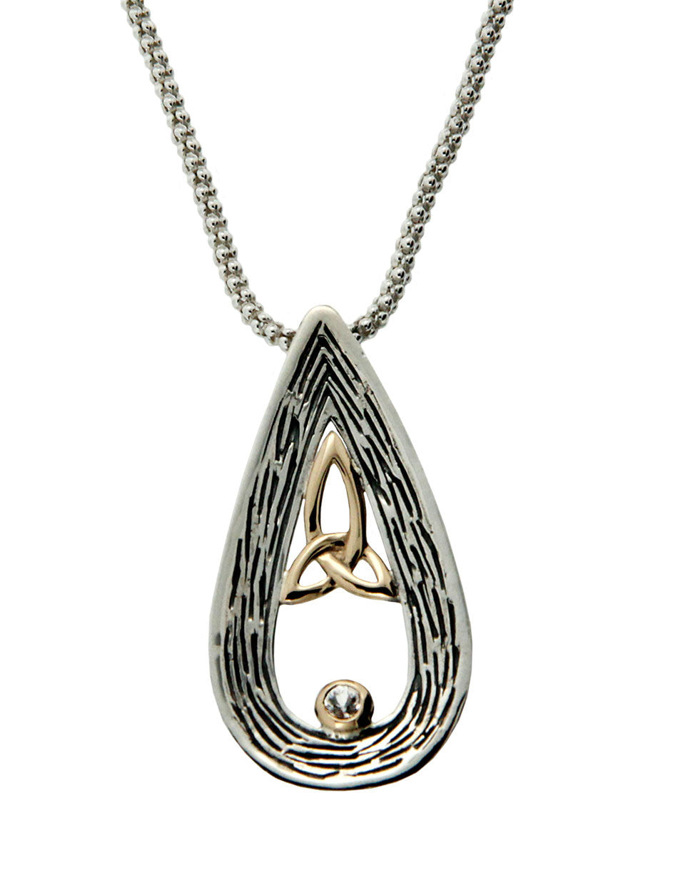 Trinity Drop Pendant - Sterling Silver, 10k Gold & Sapphire