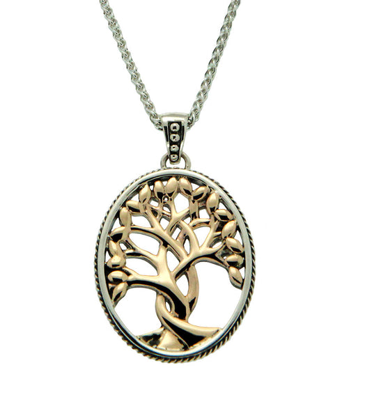 Tree of Life Pendant - Sterling Silver + 10k