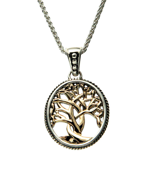 Tree of Life Pendant - Sterling Silver and 10k gold