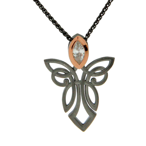 Guardian Angel Pendant - Ruthenium and Rose Gold