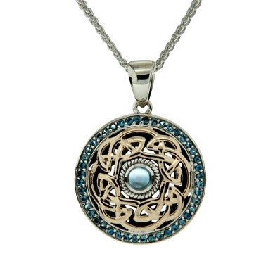 Path of Life Pendant - Yellow Gold and London Blue Topaz