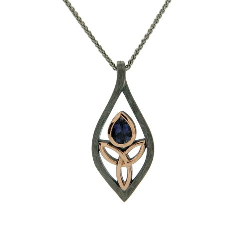 Guardian Angel Pendant - Ruthenium Iolite