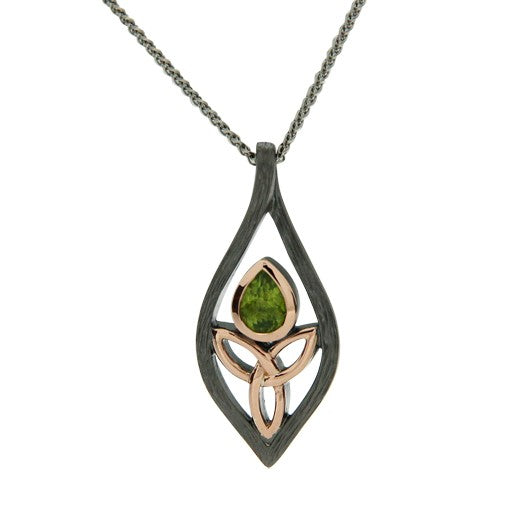 Guardian Angel Pendant - Ruthenium Peridot