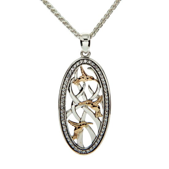 Triple Hummingbird Pendant - Yellow Gold