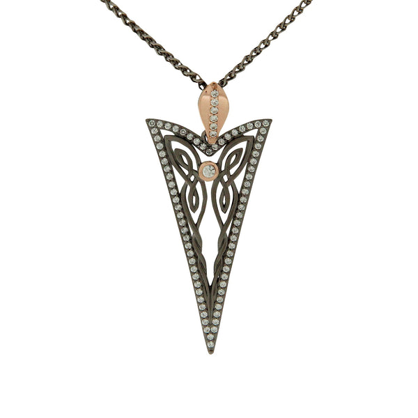 Butterfly Gateway Pendant - Ruthenium and Rose Gold