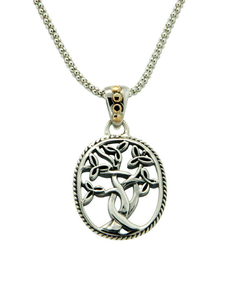 Tree of Life Pendant - Sterling Silver and 18k gold
