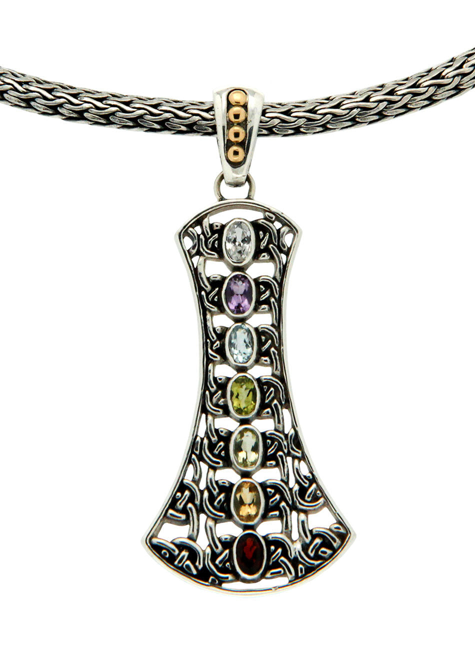 Labyrinth Chakra Pendent with Dragon Weave