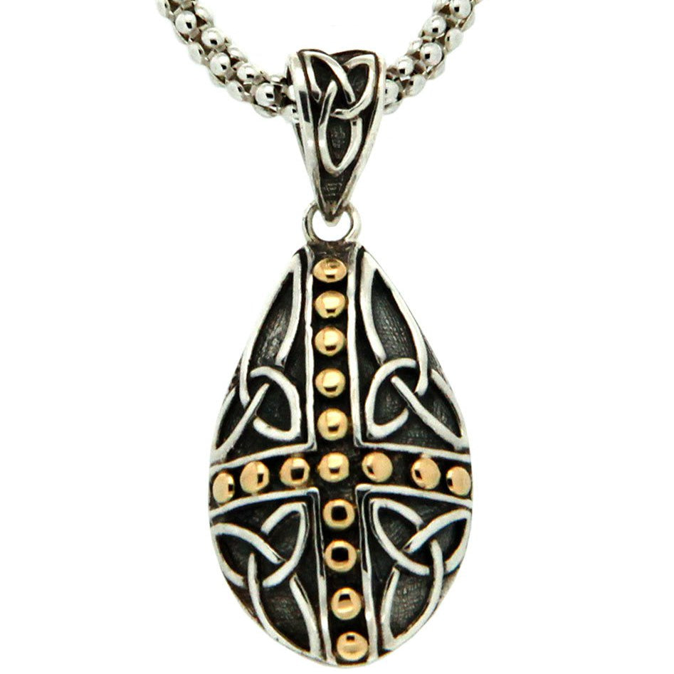 Celtic Cross - Labyrinth Teardrop Pendant