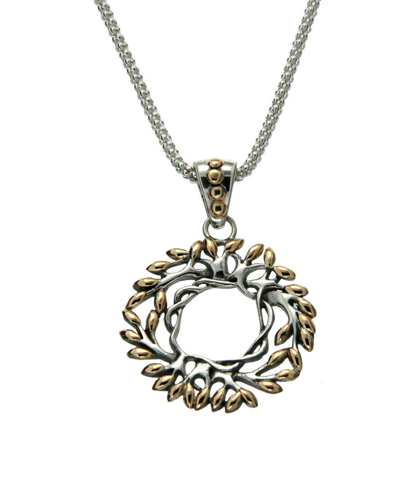 Tree of Life Round Pendant - Silver & Gold Small