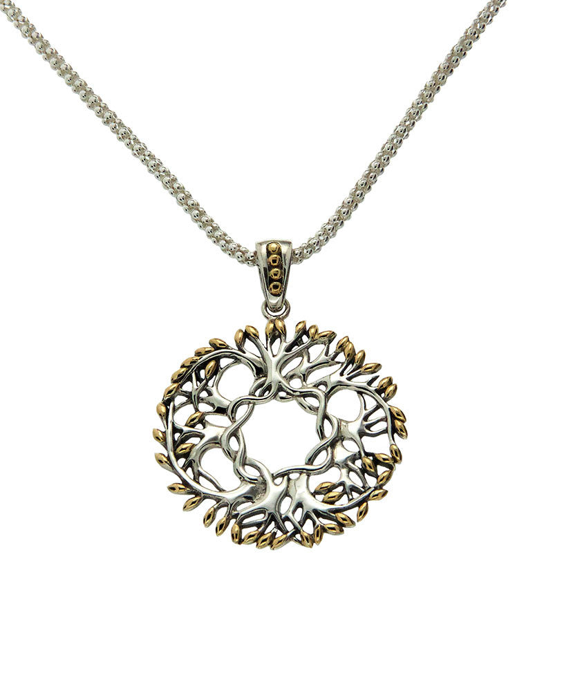 Tree of Life Round Pendant - Silver & Gold