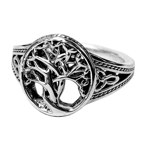 Round Sterling Sliver Tree of Life Ring