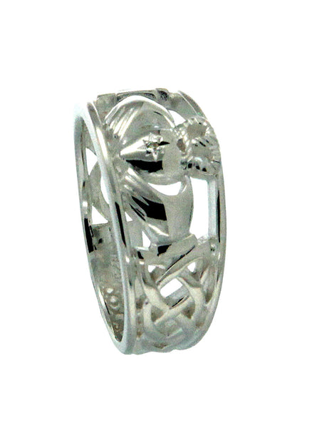 Claddagh Ring Sterling Silver with Diamond