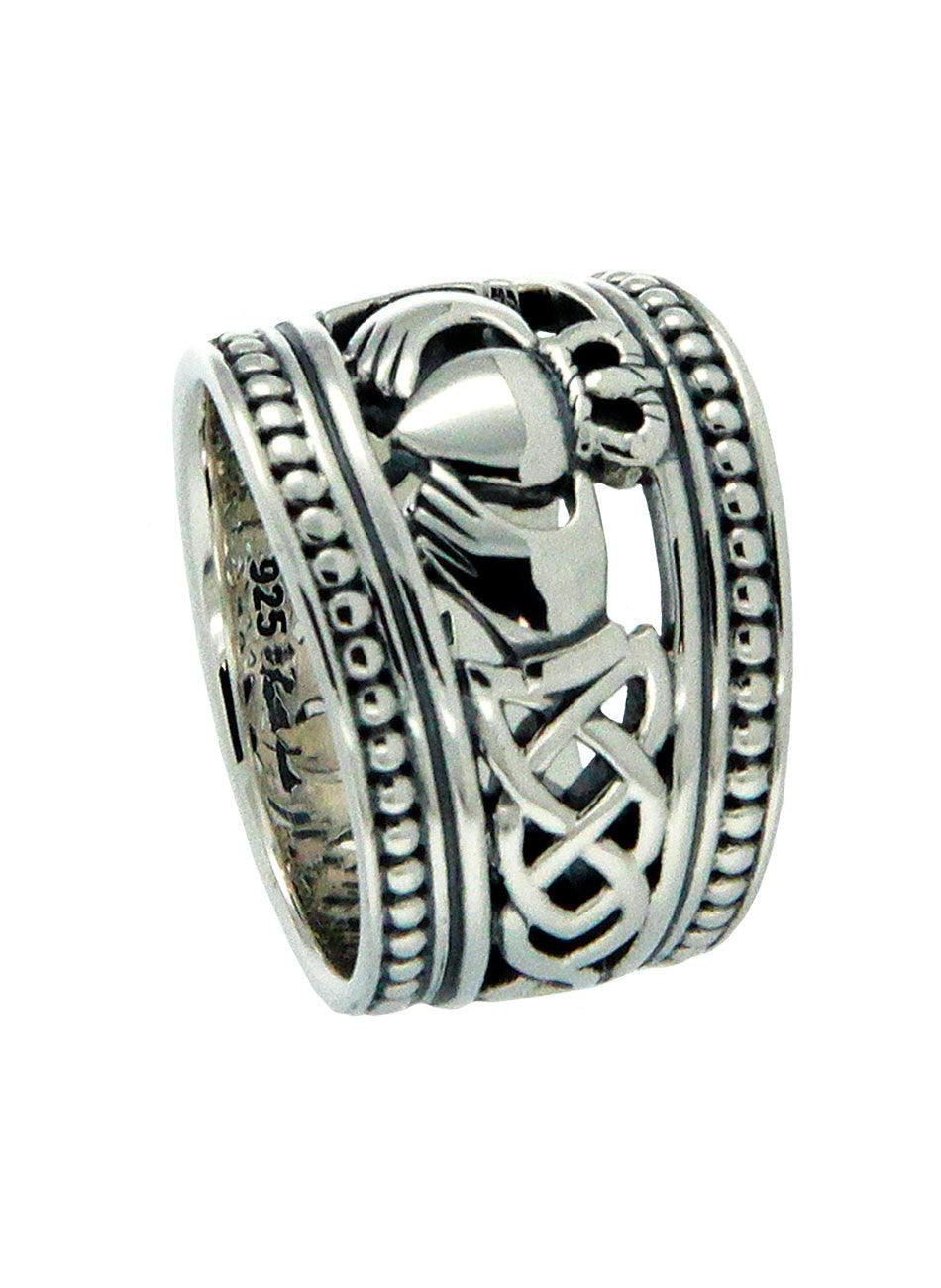 Claddagh Shield Ring Sterling Silver