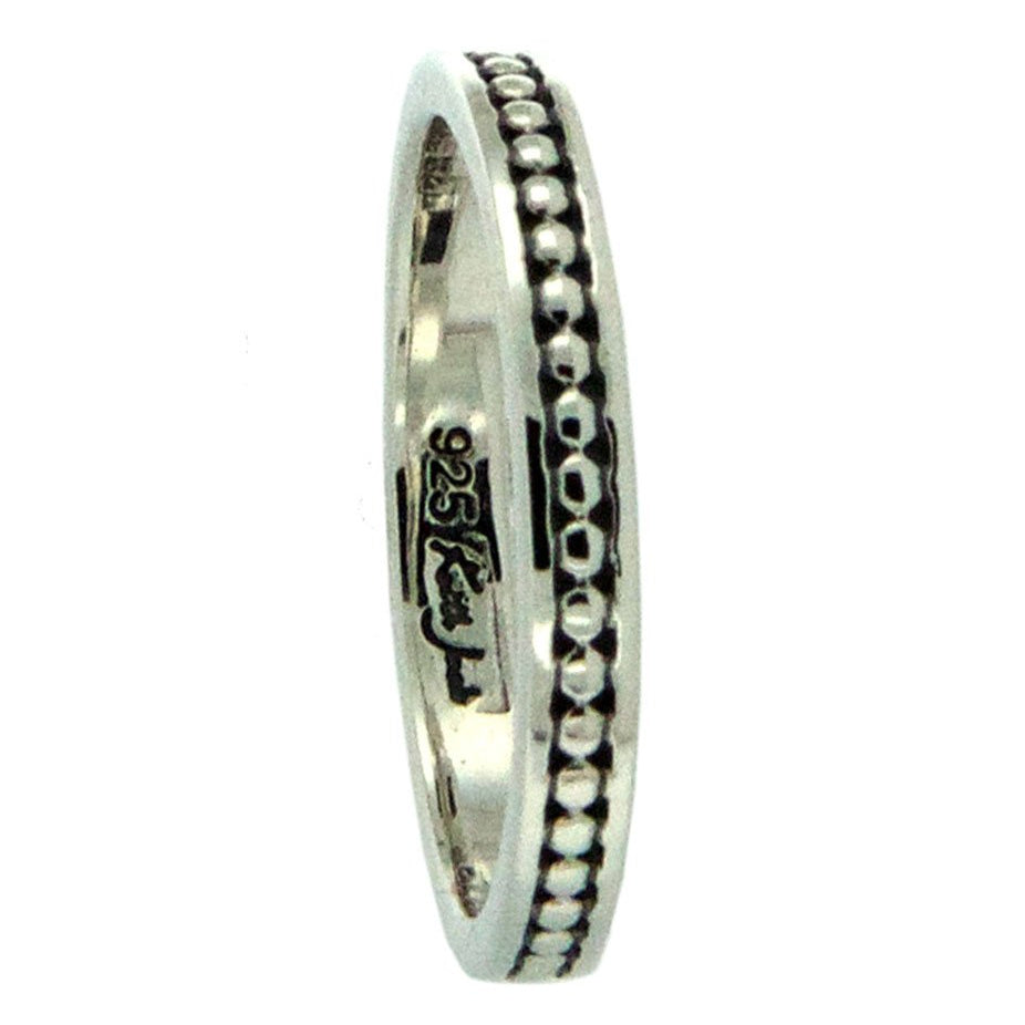 Beaded Rail Ring Sterling Silver